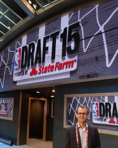 The NBA's Kevin Dobstaff says the stage this year was moved back to open up better sight lines for fans and more room for draftees on the floor.