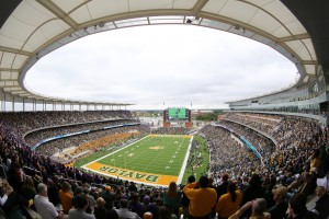 New McLane Stadium features a Daktronics 15HD display in the south end zone and ribbon displays stretching around the horseshoe.