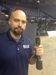 Brady Schwarz holds one of the Heil PR35 microphones that PBR deploys for handheld uses.