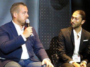 Socialbakers' Bob Gearing (left) with Robert Gekchyan, senior executive director, technology, Deluxe Media
