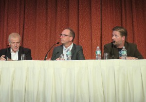 From left: Sony's Hugo Gaggioni, Panasonic's Michael Bergeron, and Limelight Networks' Jason Thibeault
