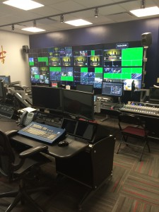 The video-control room at The Q features Grass Valley gear.
