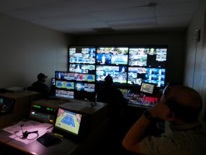 Inside one of nine ESPN control rooms at the broadcast center, this one dedicated to Arthur Ashe Stadium