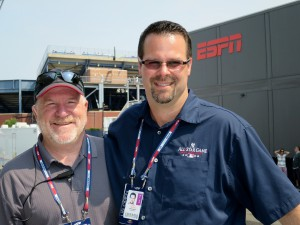 Terry Brady (left) and Chris Strong in front of ESPN's new broadcast center